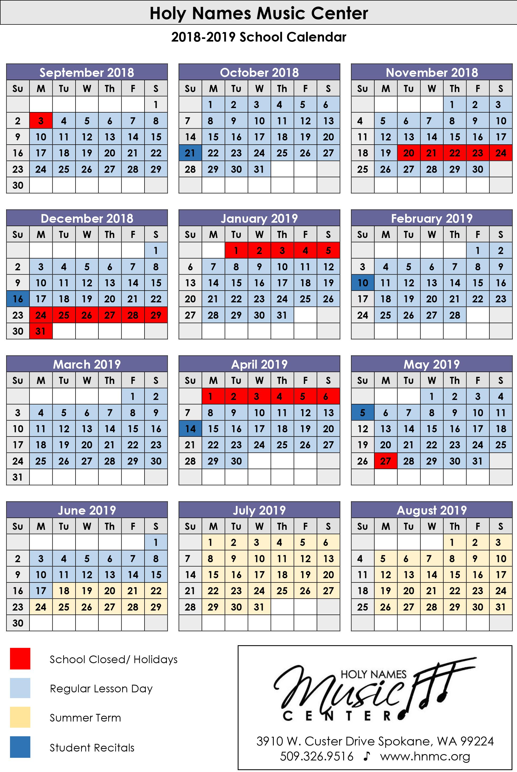 Calendars   Holy Names Music Center
